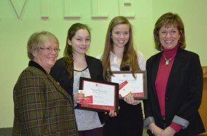 Councillor Cathy Duddeck, award recipients Emma Mogus and Julia Mogus, and Councillor Pam Damoff; Photo Credit: Town of Oakville