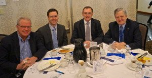 Councillors Dave Gittings, Tom Adams, Alan Johnson, and Mayor Rob Burton at the 2014 Economic Forecast Breakfast.